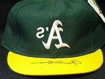 Signed Fingers, Rollie Oakland A's Hat on the Bill