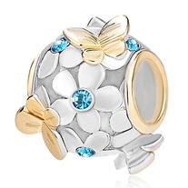 Pugster New 925 Sterling Silver Flower Butterfly Crystal