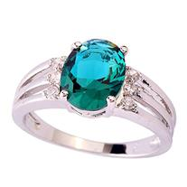 Psiroy Women's 925 Sterling Silver 3ct Green Topaz Filled