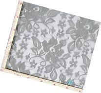 Silver Grey Flower With Leaf Stretch Lace Fabric 4 Way