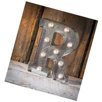 """Silver Metal Marquee Letter 9.875""""-R"""
