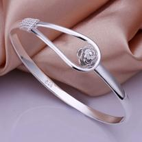 Rbenxia Women Jewelry 925 Silver Plated Bangle Bracelet Cuff