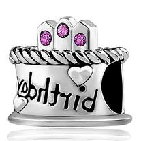 Pugster Silver Plated Happy Birthday Cake Hot Purple