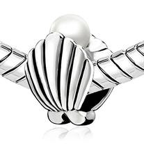 Pugster Jewelry Silver Plated Shell Pearl Charm Beads Fits