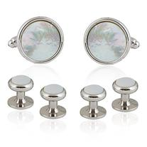 Cuff Links and Studs Set in Genuine-Mother-of-Pearl and