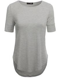 Doublju Lightweight Round Neck Loose Fit T-Shirt Top