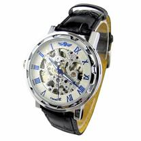 YouYouPifa Skeleton Dial Leather Strap Automatic Self-Wind