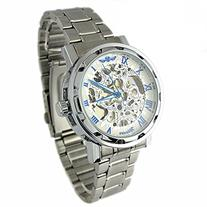YouYouPifa Skeleton Dial Stainless Steel Strap Hand-Wind