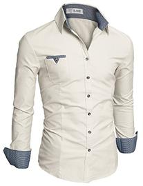 Doublju Mens Fitted Button Down Checkered Casual Shirt,