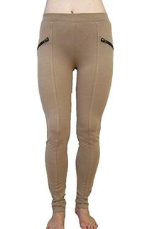Basic House Skinny Stretch Pants With Elastic Waist-Taupe