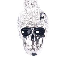Skull Pendant Necklace Silver Tone with Crystals 32 Inches