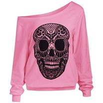 Skulls Print Skew Collar Sweatshirt