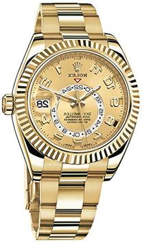 Rolex Sky Dweller Champagne Dial GMT 18kt Yellow Gold Mens
