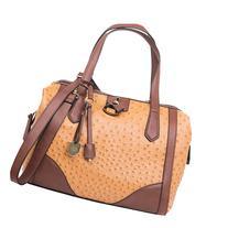 London Fog Handbags Skyler Frame Satchel Amber Ostrich -