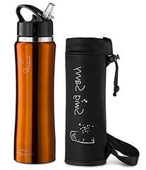 SWIG SAVVY Stainless Steel Insulated Water Bottle Wide Mouth 24oz / 32oz Double Wall Design with Straw Flip Cap - Great for Kids - Sweat Proof -