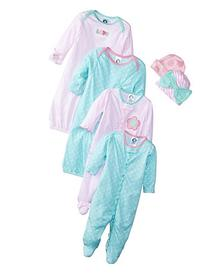 Gerber Baby Girls' 6 Piece Gown, Cap , and Sleep'n Play