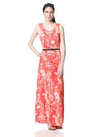Women's Sleeveless Belted Maxi Dress, Coral Salmon, Small