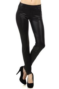 Modern Kiwi Slim Fit Liquid Matte Pocket Leggings Black