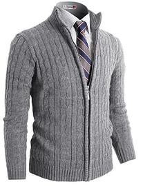H2H Mens Slim Fit Full-zip Kintted Cardigan Sweaters with