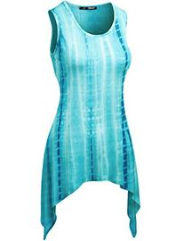 Thanth Womens Slim Fitted Tie Dyed Tunic Top With Various