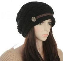 Slouch Beanies Button Hats Knitted Crochet Baggy Skullies