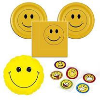 Smiley face party supplies for 16 guests - cake plates,