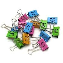 Deli Smiling Binder Clips ,19mm ,Assorted Colors ,40 Clips