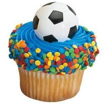 Soccer Ball Cupcake Rings 12 Pack