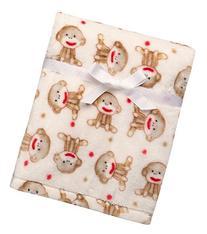 Baby Sock Monkey Ultra Plush Blanket Beige