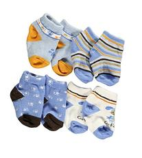 "Baby Essentials Baby Boys' ""Go Fetch"" 4-Pack Socks - blue, 0"
