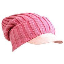 Luxury Divas Soft Pink Acrylic Knit Slouch Beanie Cap