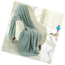 Soft Cozy Fleece Blanket, Waffle Sage Green