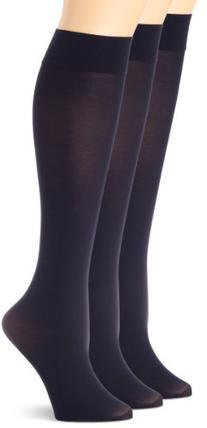 HUE Women's Soft Opaque Knee High Socks ,Navy,1