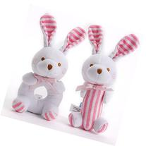 Baby Toys Girl Soft Rattle Set 2 in 1 Plush Pink Bunny