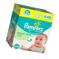 Pampers Soft & Strong Wipes Refills, Natural Clean, 9 pk, 72 ea