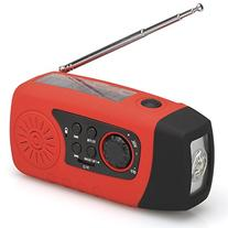 Solar Powered Wind Up Radio  & Charger  & LED Flashlight -