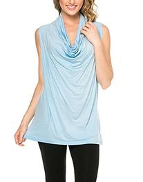 12 Ami Solid Basic Cowl Neck Tank Top Light Blue Small