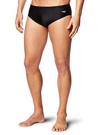 Speedo Men's Solid Lycra Brief Swimsuit, Black, 34