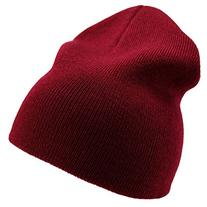 Enimay Solid Color Short Winter Beanie Hat Knit Cap Maroon