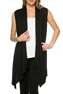 Women's Solid Color Sleeveless Asymetric Hem Open Front