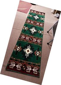 Southwest Native American Runner Area Rug Hunter Green