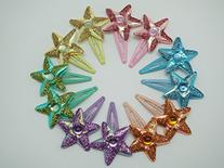 Sparkle Star Glitter Snap Clips - 24 pcs assorted colors