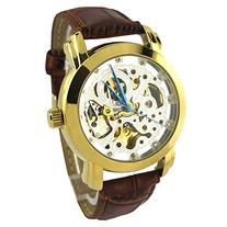 YouYouPifa Specials White Skeleton Dail Brown Leather Strap
