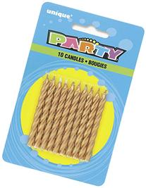 Spiral Gold Birthday Candles, 10ct
