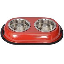 Iconic Pet 4-Cup Color Splash Stainless Steel Double Diner