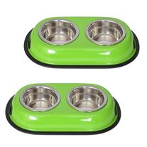 Iconic Pet 2 Cup Color Splash Stainless Steel Double Diner