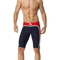 Baleaf Men's Splice Jammer Fashion Swimsuit Color Navy Red