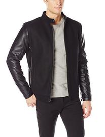 Calvin Klein Men's Mixed Media Varsity Jacket, Black, Large