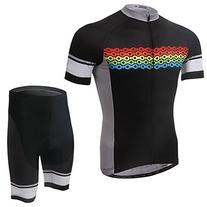 TeyxoCo Men Blue Sharp Cycling Gel Pad Jersey Set M