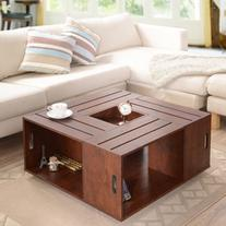 Square Crate Walnut Coffee Table with Open Shelf Storage and